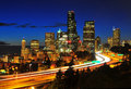 Downtown Seattle night scene Stock Photos