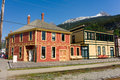 Downtown skagway in the springtime historic buildings converted into touristy shops at a small alaskan village Royalty Free Stock Photography