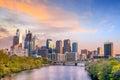 Downtown Skyline of Philadelphia, Pennsylvania at sunset Royalty Free Stock Photo