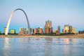 Downtown St Louis, MO with the Gateway Arch Royalty Free Stock Photo
