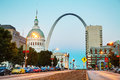 Downtown St Louis, MO with the Old Courthouse and the Gateway Ar Royalty Free Stock Photo