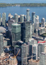 Downtown toronto viewed from the air a view of buildings in Stock Images