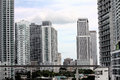 Downtown view of miami highrises building offices and people mover rail Royalty Free Stock Image