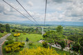 Downward view of cable car path inside national quindio colombia february coffee park coffe park shot from passenger Stock Image