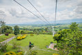 Downward view of cable car path inside national quindio colombia february coffee park colombia coffe park shot from Stock Photos