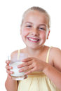 Downy beard young girl with glass of milk and smiling Stock Image