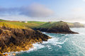 Doyden Castle in panorama of Cornwall coastline Royalty Free Stock Photo