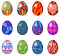 A dozen of easter eggs illustration on white background Royalty Free Stock Photography