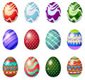 A dozen of painted easter eggs illustration on white background Stock Image