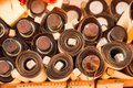 Dozens of brown paper rolls in display Royalty Free Stock Photo