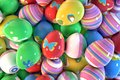 Dozens of easter eggs large amount decorated with different paintings Royalty Free Stock Photo