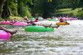 Dozens Of People Enjoy Tubing Down North Georgia River Royalty Free Stock Photo
