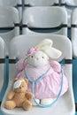 Dr bunny no urso marrom cor de rosa e pequeno com dor de olho Foto de Stock
