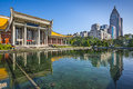 Dr sun yat sen memorial hall taipei taiwan at fountain Stock Photo