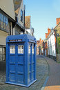 Dr who tardis in kent country lane photo of time machine spotted down a quiet Stock Image