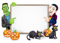Dracula and frankenstein halloween sign or banner with orange pumpkins black witch s cats witch s broom stick cartoon Royalty Free Stock Images