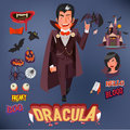Dracula with icons set. character design and infographic - vecto