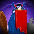Dracula illustration of in graceyard in halloween night Royalty Free Stock Photo