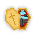 Dracula laying in coffin easy to edit vector illustration of Royalty Free Stock Image