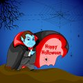 Dracula wishing happy halloween easy to edit vector illustration of Stock Photography