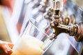 Draft beer close up of lines for in restaurant Royalty Free Stock Photography