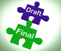 Draft final puzzle shows write and rewrite showing Stock Photography