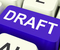 Draft key shows outline document or letter showing Stock Images
