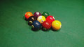 Drafted in the starting position of the group of balls for a Pool game - nine ball Royalty Free Stock Photo