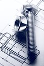 Drafting screw bolt with nut Royalty Free Stock Photos