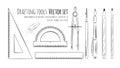 Drafting tools line art drawingof Royalty Free Stock Image