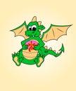 Dragón con un regalo. Humor, traditi de surprise.symbol Imagenes de archivo