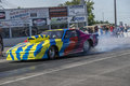 Drag car burnout nhra national open july – picture of making a at the starting line Stock Images