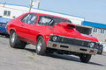 Drag car picture of red chevrolet nova ready for race classic american turned into a hot rod Royalty Free Stock Image
