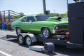 Drag car on the trailer napierville dragway canada june picture of green chevrolet nova before head up challenge event Royalty Free Stock Images