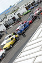 Drag competitors line up napierville dragway july picture of two row of different car during nhra national open event Royalty Free Stock Images