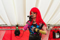 Drag queen on a stage performing the lesbian gay bisexual and transgender festival pride birmingham uk Stock Photo