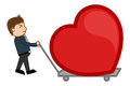Dragging a heart in a trolley drawing art of young cartoon boy on vector illustration Royalty Free Stock Images