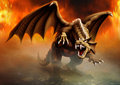 Dragon attack terrible has large claws and fangs ready to and goes by the fire Stock Image