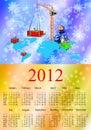 Dragon bleu-foncé un symbole de 2012.Calendar neuf Image libre de droits
