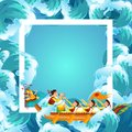 Dragon boat festival colorful poster vector illustration Royalty Free Stock Photo