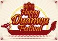 Dragon Boat Promo for Duanwu Festival, Vector Illustration Royalty Free Stock Photo