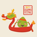 Dragon boat racing festival promotion illustration: happy rice dumpling character on a dragon boat. Royalty Free Stock Photo