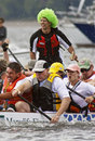 Dragon boat selective focus sweep green wig Royalty Free Stock Photography