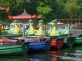 Dragon boats on boating lake Royalty Free Stock Photo