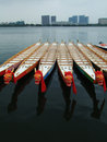 Dragon Boats and Buildings Royalty Free Stock Photography