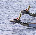 Dragon boats focus on background boat Royalty Free Stock Image