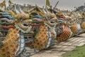 Dragon boats on the Perfume river Hue Royalty Free Stock Photo