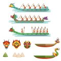 Dragon boats set, team of male athletes compete at Dragon Boat Festival vector Illustrations Royalty Free Stock Photo