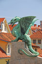 Dragon on a bridge in ljubljana Stock Photography