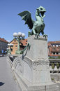 Dragon bridge ljubljana overlooking the picturesque statue located on the of dragons slovenia Stock Photography
